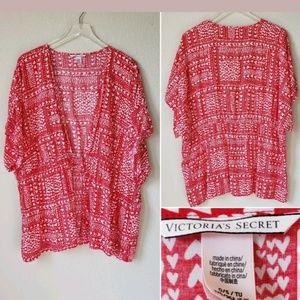 Victoria's Secret One Size Red Heart Robe Kimono